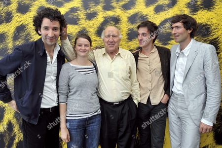 Stock Image of From Left to Right: French Director Laurent Perreau French Actress Pauline Etienne French Actors Michel Piccoli and Clement Roussier and Producer Nicolas Mauvernay Pose During a Photocall Prior to the Presentation of Their Movie 'L'insurgee' ('restless') at the 62nd Locarno International Film Festival in Locarno Switzerland 08 August 2009 Switzerland Schweiz Suisse Locarno