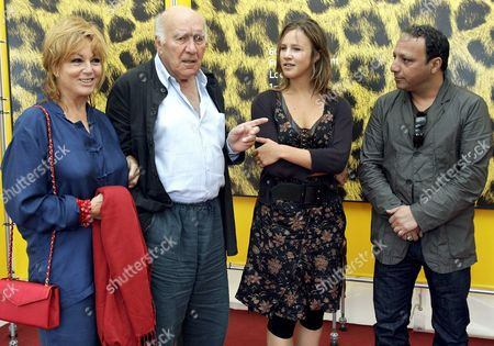 (r-l) Moroccan Born Film Director Hiner Saleem French Actress Marie Kremer French Actor Michel Piccoli and Belgian Actress Mylene Demongeot Pose During a Photocall Prior to the Presentation of Hiner Saleem's Film 'Sous Les Toits De Paris' (beneath the Roofs of Paris) at the 60th International Film Festival Locarno 09 August 2007 in Locarno Switzerland Switzerland Schweiz Suisse Locarno