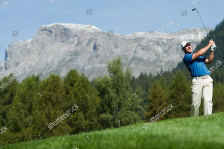 Robert Coles From Great Britain Tees Off During the First Round of the Omega European Masters Golf Tournament in Crans Montana Switzerland 02 September 2010 Switzerland Schweiz Suisse Crans-montana