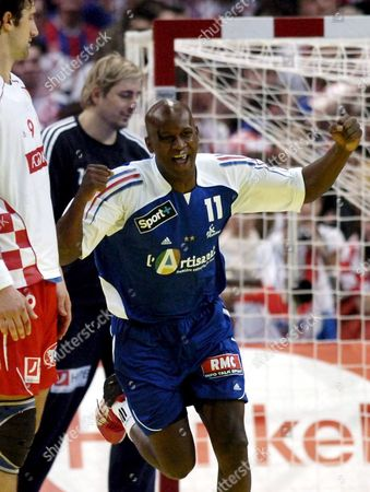 French Olivier Girault Celebrates After Throwing a Goal During the European Handball Championships Euro06 Semi Final Match Against Croatia in Zurich Switzerland Saturday February 4 2006 France Won 29-23 to Advance to the Finals Switzerland Schweiz Suisse Zurich