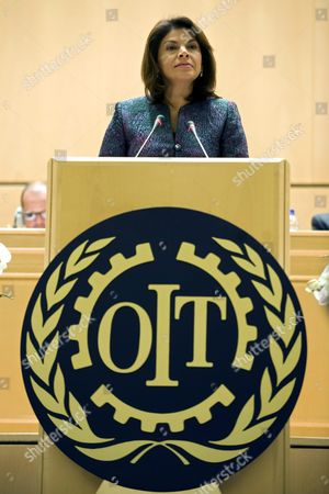 The President of Costa Rica Laura Chinchilla Miranda Delivers Her Statement During the Opening Day of the 101th International Labor Organization Ilo Conference at the European Headquarters of the United Nations in Geneva Switzerland 30 May 2012 Switzerland Schweiz Suisse Geneva