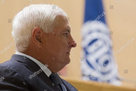 Ricardo Martinelli Berrocal President of Panama Waits on the Podium Prior to His Statement During the 101st International Labor Organization (ilo) Conference at the European Headquarters of the United Nations in Geneva Switzerland 12 June 2012 Switzerland Schweiz Suisse Geneva