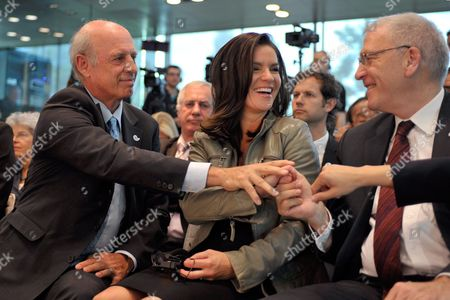 (l-r) German Former Skier and Cinematographer Willy Bogner Managing Director of the Munich 2018 Bid Committee Former Figure Skater Katarina Witt Chairwoman of the Munich 2018 Bid Committee and Michael Vesper General Director of German Olympic Sports Confederation React After Learning That Munich Moves to the Next Level of Competition to Host 2018 Olympic Winter Games at the Ioc Headquarters in Lausanne Switzerland on 22 June 2010 Switzerland Schweiz Suisse Lausanne