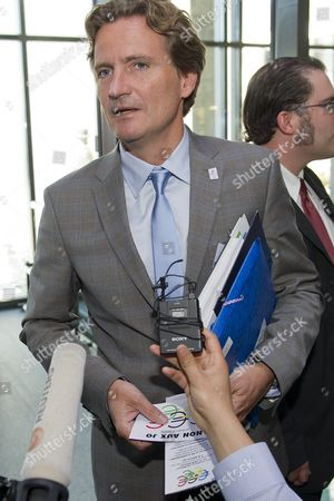 Charles Beigbeder Member of the Annecy 2018 Committee Talks to Journalist Before the Briefing For Ioc Members on the Candidature For the 2018 Olympic Games at the Olympic Museum in Lausanne Switzerland 18 May 2011 the Briefing For Ioc Members is to Permit the 2018 Candidate Cities Munich (germany) Annecy (france) and Pyeongchang (south Korea) to Inform All Ioc Members About the Technical Aspects of Their Candidatures and to Give Ioc Members an Opportunity to Put Questions to the Cities on Their Bids Prior to the Ioc Session in July in Durban South Africa where the Host City For the 2018 Olympic Winter Games Will Be Elected on 6 July 2011 Switzerland Schweiz Suisse Lausanne