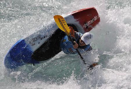 Stock Photo of David Bainbridge From Britain Competes to Win the C1 Final During the Kayak World Championships in Thun Switzerland 06 September 2009 Switzerland Schweiz Suisse Thun