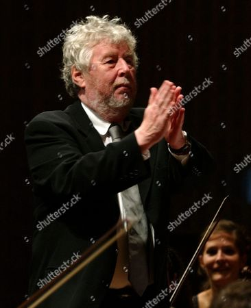Composer Harrison Birtwistle From Britain Congratulates Conductor Boulez From France and the Lucerne Festival Academy Orchestra on Thursday 16 September 2004 at the Lucerne Festival in the Kkl Culture and Congress Centre in Lucerne Switzerland Schweiz Suisse Luzern