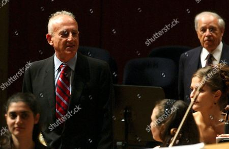 Italian Pianist Maurizio Pollini (l) Enters the Stage Prior to Perform a Piano Concert at the Lucerne Festival in the Kkl Culture and Congress Centre in Lucerne Switzerland Thursday 16 September 2004 Back Left Stands French Conductor Pierre Boulez Switzerland Schweiz Suisse Luzern