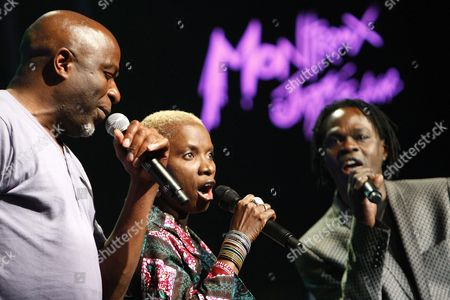 Congolese Ray Lema (l) Beninese-french Singer Angelique Kidjo (c) and Senegalese Singer Baaba Maal (r) Perform on the Stravinski Hall Stage at the 43rd Montreux Jazz Festival in Montreux Switzerland Late 10 July 2009 Switzerland Schweiz Suisse Montreux