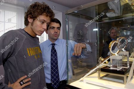 Jerome Lambert (r) General Director of Swiss Watch Maker Jaeger-lecoultre Shows Watches to Italian Motogp Class Motorcycle Pilot Valentino Rossi (l) During His Visit to the Jaeger-lecoultre Factory in Sentier Switzerland Wednesday 26 April 2006 Switzerland Schweiz Suisse Le Sentier