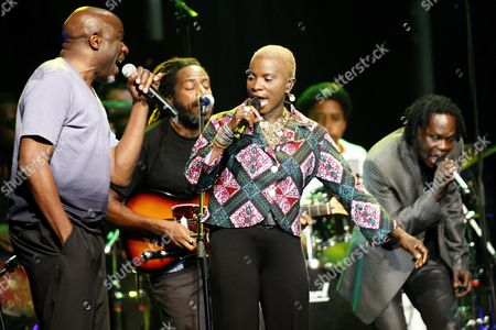 Congolese Ray Lema Left Beninese-french Singer Angelique Kidjo Center and Senegalese Singer Baaba Maal Right Perform on the Stravinski Hall Stage at the 43rd Montreux Jazz Festival in Montreux Switzerland 10 July 2009 Switzerland Schweiz Suisse Montreux
