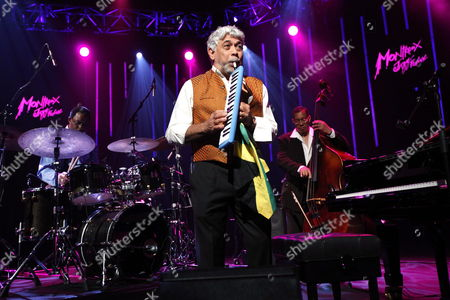 Jamaican Jazz Pianist Monty Alexander (c) of Monty Alexander and Harlem Kingston Express Perfoms on the Stravinski Hall Stage at the 43rd Montreux Jazz Festival in Montreux Switzerland 10 July 2009 the Festival Runs Until 18 July Switzerland Schweiz Suisse Montreux