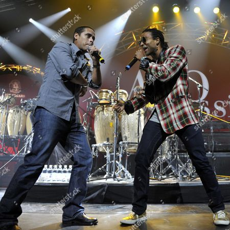 Members of Cuban Hip Hop Band 'Orishas' Singers Yotuel Romero (r) and Hiram Riveri (l) Perform on Stage at the Avo Session in Basel Switzerland 30 October 2009 Switzerland Schweiz Suisse Basel