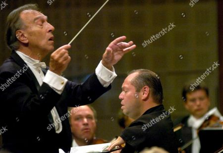 Italian Conductor Claudio Abbado (l) Conducts the Lucerne Festival Orchestra While Performing a Concert with German Bariton Singer Thomas Quasthoff (c) During the Lucerne Festival Switzerland Friday 11 August 2006 Switzerland Schweiz Suisse Luzern