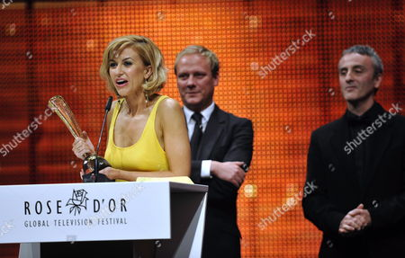 From (l-r) Katherine Kelly Antony Cotton and Kieran Roberts From Great Britain Receive the Rose D'or Golden Jubliee Award For Coronation Street at the Rose D'or Global Television Festival at the Kkl Centre in Lucerne Switzerland 22 September 2010 Switzerland Schweiz Suisse Lucerne