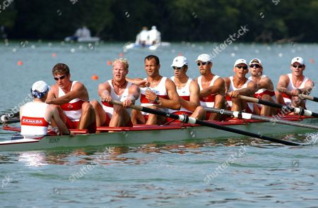 Canadian Brian Price Jeff Powell Adam Kreek Andrew Hoskins David Caloer Kyle Hamilton Ben Rutledge Kevin Light and Joseph Stankevicius From Left Are Rowing During the Men Eight Semi Final at the Rowing World Cup on Lake Rotsee in Lucerne Switzerland Saturday July 12 2003 Epa Photo/keystone/guido Roeoesli Switzerland Schweiz Suisse Lucerne