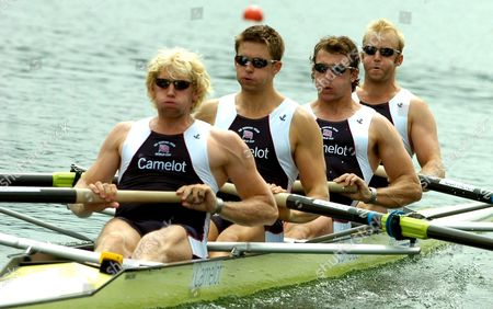 From L-r Andrew Hodge Triggs Peter Reed Steve Williams and Alex Partridge of Great Britain Row at the Men's Four Sculls Semifinal at the Rowing World Cup on Lake Rotsee in Lucerne Switzerland Saturday 08 July 2006 Switzerland Schweiz Suisse Luzern