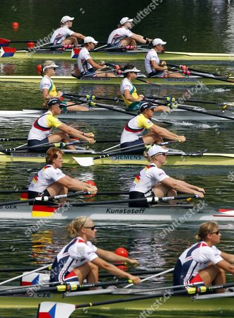 The Start of the Women Double Sculls with Usa 2 with Margot Shumway and Megan Kalmoe Usa 1 with Kathleen Bertko and Stesha Carle Australia with Sally Kehoe and Kim Crow Great Britan with Katherine Grainger and Anna Watkins Germany with Stephanie Schiller and Annekatrin Thiele and Czech Republik with Jitka Antosova and Lenka Antosova From Top During the a Final at the Rowing World Cup on Rotsee in Lucerne Switzerland 11 July 2010 Switzerland Schweiz Suisse Luzern