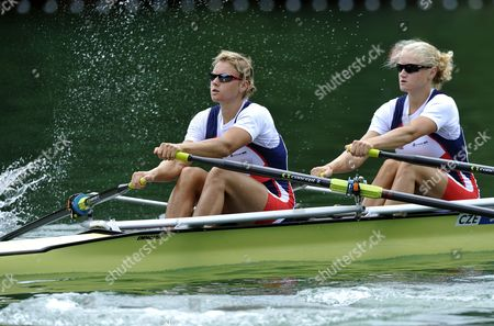 Start For the Womens Double Sculls Semi Final of Jitka Antosova (l) and Lenka Antosova (r) of the Czech Republic During the Rowing World Cup on Lake Rotsee in Lucerne Switzerland 09 July 2011 Switzerland Schweiz Suisse Luzern