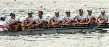 (l-r) Brian Price Jeff Powell Joe Stankevicius Andrew Hoskins Adam Kreek Christopher Jarvis Darren Barber Kevin Light and Scott Frandsen of Canada Are Rowing Back After Winning the Mens Eight Final a Race on Sunday 20 June 2004 During the Rowing World Cup on Lake Rotsee in Lucerne Switzerland Switzerland Schweiz Suisse Lucerne