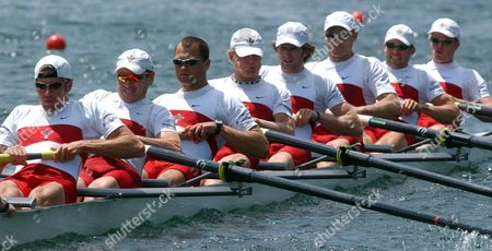 From Left: Brian Price Jeff Powell Joe Stankevicius Andrew Hoskins Adam Kreek Christopher Jarvis Darren Barber Kevin Light and Scott Frandsen of Canada Start at the Men's Eight Heat 2 During the Rowing World Cup on Lake Rotsee in Lucerne Switzerland Friday 18 June 2004 Switzerland Schweiz Suisse Lucerne