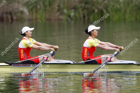 China's Qin Li and Liang Tian From Left on Their Way to Win the Women's Double Sculls Final at the Rowing World Cup on Rotsee in Lucerne Switzerland Sunday June 1 2008 Switzerland Schweiz Suisse Luzern Lucerne Lucerna
