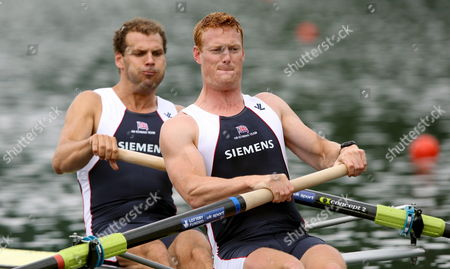 Toby Garbett (l) and Marcus Bateman (r) of Great Britain Start at the Men's Pairs Heat 2 Race at the Rowing World Cup on the Rotsee Lucerne Switzerland 30 May 2008 Switzerland Schweiz Suisse Luzern