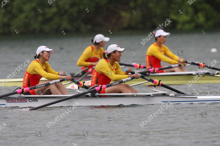 China's Qin Li and Liang Tian Front From Left and China's Weiwei Zhu and Yangyang Zhang Back From Left on Their Way to Place First Respectively Second in the Women's Double Sculls Semifinal at the Rowing World Cup on the Rotsee in Lucerne Switzerland 31 May 2008 Switzerland Schweiz Suisse Luzern