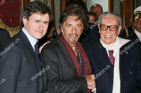 Mayor of Rome Gianni Alemanno, Al Pacino and Gian Luigi Rondi.