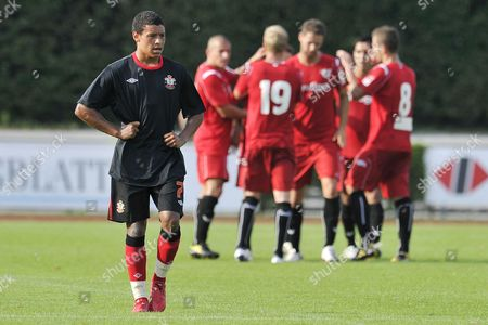 England's Alex Chamberlain Left Reacts After the Second Score During the Soccer Friendly Game Between Fc Thun and Southampton Fc in the Lachen Stadium in Thun Switzerland Tuesday July 13 2010 Switzerland Schweiz Suisse Thun