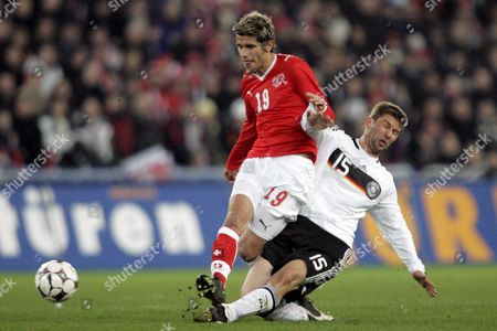 Switzerland's Valon Behrami (l) Fights For the Ball Against Germany's Thomas Hitzelsperger (r) During an International Friendly Test Game For the Euro 2008 Between Switzerland and Germany at the St Jakobspark Stadium in Basel Switzerland 26 March 2008 Switzerland Schweiz Suisse Basel Bale Basle Basilea