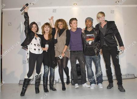 The cast of Britannia High, left to right, Saphire Elia, Georgina Hagen, Rana Roy, Mitch Hewer, Marcqelle Ward and Matthew James Thomas.