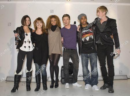 The cast of Britannia High, left to right, Saphire Elia, Georgina Hagen, Rana Roy, Mitch Hewer, Marcqelle Ward and Matthew James Thomas. .