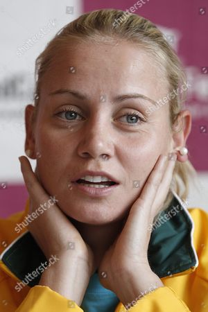 Australia's Fed Cup Tennis Player Jelena Dokic Speaks Next to Teammate Samantha Stosur During a Media Conference at the Forum Arena in Fribourg Switzerland Wednesday February 1 2012 Switzerland Faces Australia in the World Group 2 First Round Switzerland Schweiz Suisse Fribourg