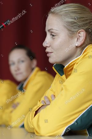 Stock Photo of Australia's Fed Cup Tennis Player Jelena Dokic Front Speaks Next to Teammate Samantha Stosur During a Media Conference at the Forum Arena in Fribourg Switzerland Wednesday February 1 2012 Switzerland Faces Australia in the World Group 2 First Round Switzerland Schweiz Suisse Fribourg