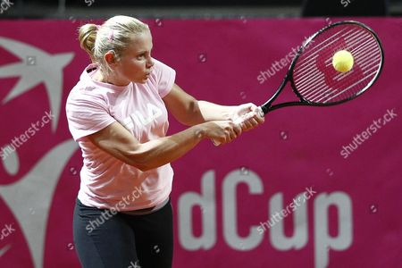 Australia's Fed Cup Tennis Player Jelena Dokic Returns a Ball During a Training Session in the Forum Arena in Fribourg Switzerland 31 January 31 2012 Switzerland Will Face Australia in the World Group 2 First Round Switzerland Schweiz Suisse Fribourg