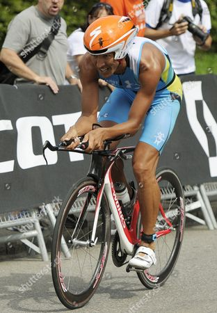 Chris Mccormack of Australia Rides His Bike During the Cycling Stage of the Swiss Circuit Triathlon in Zurich Switzerland on 09 July 2011 Switzerland Schweiz Suisse Zurich