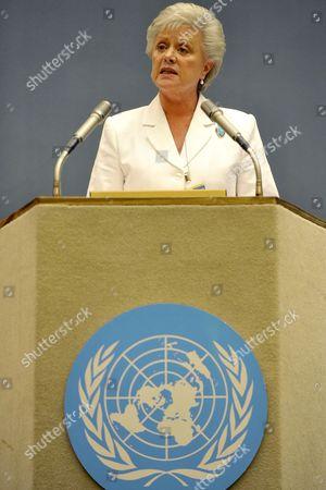 Princess Muna Al-hussein of Jordan Speaks During the Opening Session of the Economic and Social Council High Level Segment Un Ecosoc in Geneva Switzerland 06 July 2009 Switzerland Schweiz Suisse Geneva