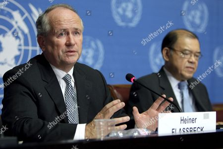 Stock Photo of Unctad Secretary-general Supachai Panitchpakdi (r) From Thailand and German Heiner Flassbeck (l) Unctad Director Divison on Globalization and Development Strategies Speak During a Press Conference About the Report on the Global Economic Crisis: 'Systemic Failure and Multilateral Remedies' at the United Nations Building in Geneva Switzerland 18 March 2009 Switzerland Schweiz Suisse Geneva