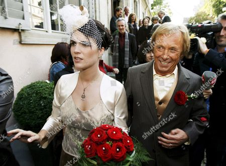 German Actor Claus Theo Gaertner Known As Detective 'Matula' From the Tv Production 'Ein Fall Fuer Zwei' (a Case For Two) and His Newly Wed Wife Swiss Sarah Wuergler Walk out of the Museum Lindengut After Their Wedding 20 September 2008 in Winterthur Switzerland Switzerland Schweiz Suisse Winterhur
