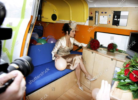 Swiss Sarah Wuergler Newly Wed Wife of German Actor Claus Theo Gaertner Known As Detective 'Matula' From the Tv Production 'Ein Fall Fuer Zwei' (a Case For Two) Sits in a Vw Camping Bus After Their Wedding 20 September 2008 in Winterthur Switzerland Switzerland Schweiz Suisse Winterhur