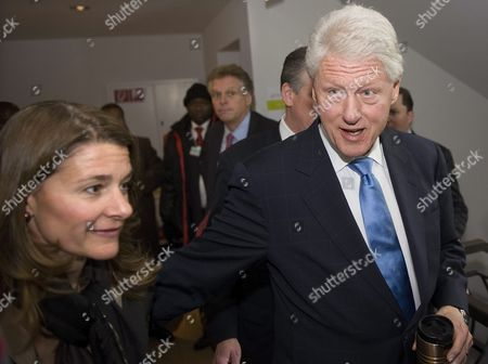 Former Us President and Un Special Envoy to Haiti Bill Clinton (r) Walks in a Hotel with Melinda French Gates (l) Co-chair of Bill and Melinda Gates Foundation on the Sideline of the 40th Annual Meeting of the World Economic Forum Wef in Davos Switzerland 28 January 2010 the Overarching Theme of the World Economic Forum Wef Annual Meeting Which Will Take Place From 27 to 31 January is 'Improve the State of the World: Rethink Redesign Rebuild' Switzerland Schweiz Suisse Davos