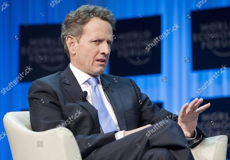 Stock Photo of Timothy F Geithner Us Secretary of the Treasury Speaks During a Plenary Session at the 42nd Annual Meeting of the World Economic Forum Wef in Davos Switzerland 27 January 2012 the Overarching Theme of the Meeting Which Will Take Place From 25 to 29 January is 'The Great Transformation: Shaping New Models ' Switzerland Schweiz Suisse Davos