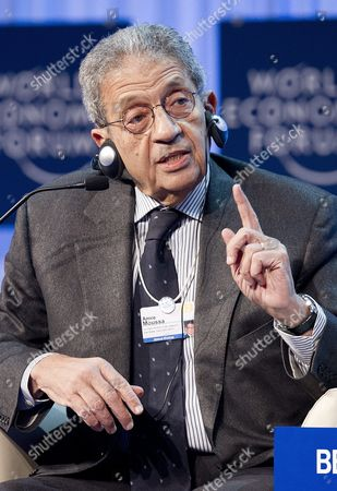 Amre Moussa Presidential Candidate Egypt and Former Secretary-general of the League of Arab States Speaks During a Plenary Session at the 42nd Annual Meeting of the World Economic Forum Wef in Davos Switzerland 27 January 2012 the Overarching Theme of the Meeting Which Will Take Place From 25 to 29 January is 'The Great Transformation: Shaping New Models ' Switzerland Schweiz Suisse Davos