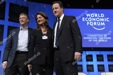 (l-r) William H Gates Iii His Wife Melinda French Gates Joint Co-chair of the Bill & Melinda Gates Foundation and British Prime Minister David Cameron Pose After a Panel Session at the 41st Annual Meeting of the World Economic Forum Wef in Davos Switzerland on 28 January 2011 the Overarching Theme of This Year's World Economic Forum Annual Meeting From 26 to 30 January is 'Shared Norms For the New Reality' Switzerland Schweiz Suisse Davos