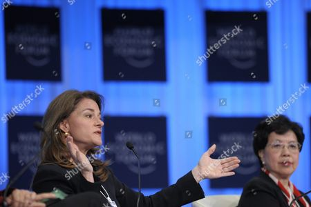 Melinda French Gates (l) Co-chair of the Bill & Melinda Gates Foundation and China's Margaret Chan Director General of the World Health Organization who Attend a Panel Session at the 41st Annual Meeting of the World Economic Forum Wef in Davos Switzerland on 28 January 2011 the Overarching Theme of This Year's World Economic Forum Annual Meeting From 26 to 30 January is 'Shared Norms For the New Reality' Switzerland Schweiz Suisse Davos