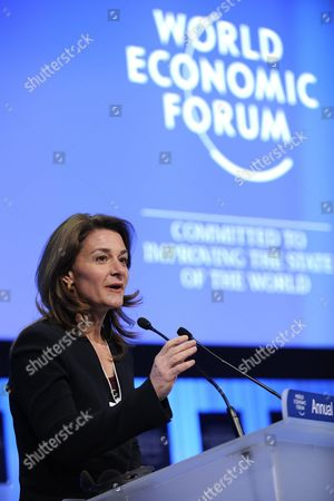 Melinda French Gates Co-chair of the Bill & Melinda Gates Foundation Speaks During a Panel Session at the 41st Annual Meeting of the World Economic Forum Wef in Davos Switzerland 28 January 2011 the Overarching Theme of the World Economic Forum Wef Annual Meeting is 'Shared Norms For the New Reality' the Forum Takes Place From 26 to 30 January 2011 Switzerland Schweiz Suisse Davos