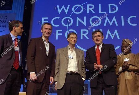 (l-r) Christopher Murray Director of the Global Health Initiative Jens Stoltenberg Prime Minister of Norway Bill Gates Chairman of Microsoft Usa Gordon Brown Chancellor of the Exchequer of the United Kingdom and Olusegun Obasanjo President of Nigeria Group After Their Plenary Session on the Disease of Tuberculosis During the World Economic Forum Wef in Davos Switzerland Friday 27 January 2006 the Wef Gathers Corporate and Political Heads As Well As Prominent Figures of Showbusiness and Sports to Talk About the State of the World Switzerland Schweiz Suisse Davos