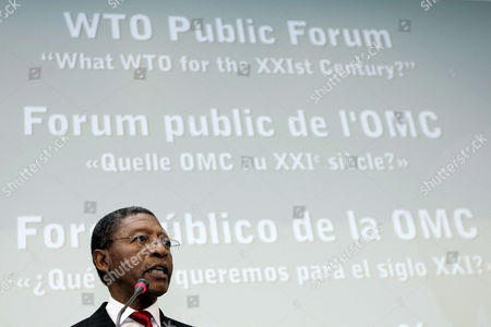 Pakalitha Mosisili Prime Minister of Lesotho Speaks in Front of Representatives During the Plenary Opening Session of the Wto Public Forum 'What Wto For the Xxi Century?' at the Wto Headquarters in Geneva Switzerland Monday 25 September 2006 Switzerland Schweiz Suisse Geneva