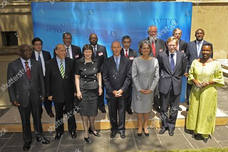 (left to Right) Donald Kaburaka Luis Moreno Angel Gurria Walid Al Woheib Helen Clark Abdoulie Janneh Pascal Lamy World Trade Organization Director-general Harukiko Kuroda Patricia Francis Juan Somavia Robert Zoelleck Thomas Mirow Kandeh Yumkella and Valentine Rugwabiza Pose For a Group Picture After the Launch of the Global Trade Liquidity Program the Aid For Trade Review Co-hosted by World Trade Organization in Wto Geneva Switzerland 06 July 2009 Switzerland Schweiz Suisse Geneva