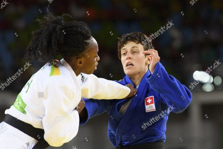 Evelyne Tschopp of Switzerland (r) and Priscilla Gneto of France (l) in Action During the Women's -52kg Bout of the Rio 2016 Olympic Games Judo Events at the Carioca Arena 2 in the Olympic Park in Rio De Janeiro Brazil 07 August 2016 Brazil Rio De Janeiro
